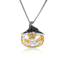 JewelryPalace1.7ct  Yellow Sapphire Black Spinel Pendant  925 Sterling Silver