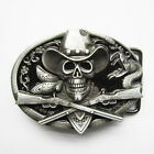 Black Skull Cowboy Cross Rifles Oval Western belt buckle