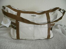 WOMEN'S FASHION LARGE LORENZ REAL LEATHER WHITE/TAN SHOULDER BAG HANDBAG