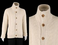 LOUIS VUITTON LTD RELEASE IVORY CREAM WOOL ALPACA HEAVY KNIT SWEATER CARDIGAN M