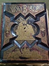 Large Victorian Pronouncing Parallel Bible 1890 Leather Illustrated Plates