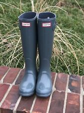 Hunter original tall Grey gloss boots size 5/36 women new with box