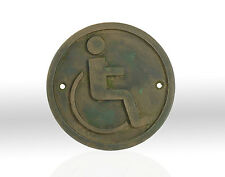 NEW, Hand Made Wheelchair, Disabled Toilet, Bathroom Bronze Resin plaque, sign.