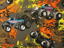 MONSTER TRUCKS 4 WHEELERS COLORS BROWN COTTON FABRIC FQ