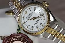 LADIES ROLEX 69173 18K YG & SS DATEJUST, WHITE ROMAN DIAL!! JUST SERVICED !!