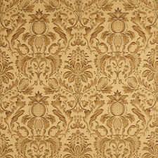 F553 Gold Green Purple Floral Pineapple Damask Upholstery Fabric By The Yard