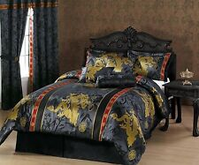 7-Piece Palace Dragon Jacquard Comforter Set Bed-In-A-Bag Queen Black/Gold/Red
