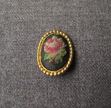 VINTAGE HAND EMBROIDERY PETIT POINT FLOWER GOLDEN METAL BUTTON