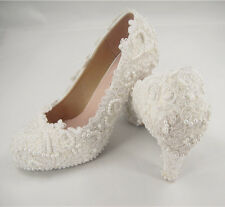 Handmade Ivory Floral Lace Bridal Shoes Pearl High Heel Wedding Shoes UK3-8