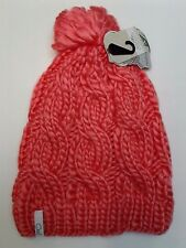 Coal Women's the Rosa Chunky Cable Pattern Beanie with Pom Pom Neon Peach