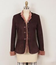 Emanuel Ungaro Dark Brown Suede with Mauve Pink Shearling Jacket Coat XS 36 0/2