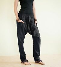 Extra Long Drop Crotch Smock Waist Unisex Pants Tapered Trousers Solid Black