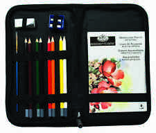 WATERCOLOUR DRAWING PENCILS SKETCHING SET BRUSH, PAD &  ZIP UP CASE SET-KCWPS