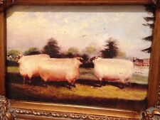 Country French Framed Oil Painting-Three Sheep In Meadow