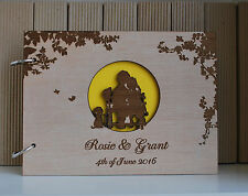 wood wedding guest book A5 full moon, wedding guest book, personalized album