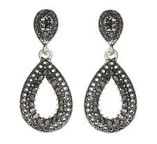 CLIP ON EARRINGS - antique silver plated drop earring with crystals - Brenda