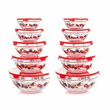 Glass Bowls With Lids 20 Pcs Food Storage Containers Set Clear