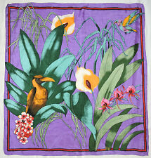 """Chic TROPICAL Flowers Leaves BIRDS Yellow Green Red PURPLE Thin Silk 30"""" Scarf"""