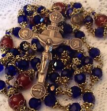 Rosary ~ Auburn Tiger Colors~ 8mm Blue Crystal   St John Paul II  Bronze