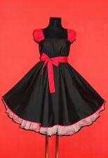 50s ROCKABILLY BLACK RED SWING DRESS 18 20 22 Plus Size Gothic Pin Up Vintage