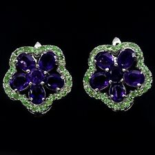 Suffragette 14k White Gold Vermeil Amethyst Tsavorite Garnet Cluster Earrings