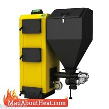 PBI 38kW Wood Pellet Boiler multi fuel ability burn wood coal grain alt to stove