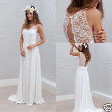 Simple Bohemian Style Wedding Dress A Line White Ivory Bridal Gown Custom Size