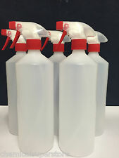 4 x Trigger Spray Bottles 1L, Valeting, Household Cleaning Chemical Resistant