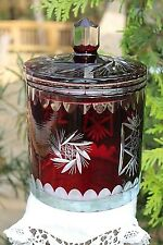 Vintage Bohemian Czech RUBY RED Crystal CUT to CLEAR Covered BISCUIT JAR