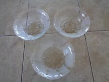 KIG~Indonesia~Fleur Pattern~Clear Glass~Salad/Cereal Bowls~Lot of 3