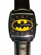 DC Comics BATMAN Logo Square Face Genuine Leather Band WRIST WATCH