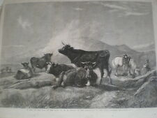 A Rest on the Road to the Fair from H B Willis 1861 old print cows and herders