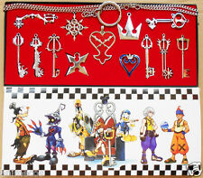 13pcs Kingdom Hearts II Necklace Pendant Set Keyblade Keychain New in box Silver