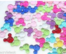 40x Mixed Colours 14mm Flat Back Mickey Minnie Mouse Head Resin Rhinestones Gems
