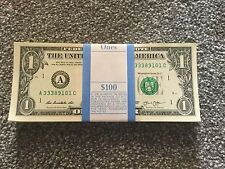 Crisp b New $1 U.S. dollar/dollars Note Notes x100($100) Idea For Tips Tolls 019