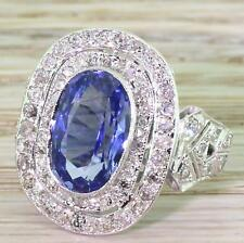 RETRO 5.22ct CEYLON SAPPHIRE & DIAMOND DOUBLE CLUSTER RING - 18k W Gold - c 1960