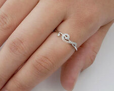 USA Seller Music Note Ring with CZ Sterling Silver 925 Best Deal Jewelry Size 4