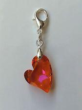 Kristall Schmuck Charm Silber mit Swarovski Elements Devoted 2 U Heart Herz Pink