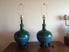 NICE PAIR OF MID CENTURY BLUE/GREEN DRIP GLAZE POTTERY LAMPS