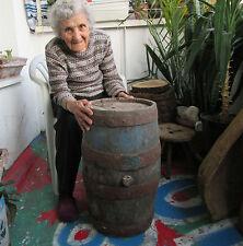 """22"""" large  antique primitive staved WOODEN BARREL CASK KEG  iron banded"""
