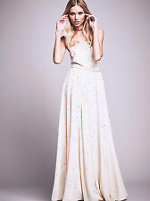 NEW Free People Silver Screen Maxi Dress 6 Wedding Formal Ivory/Rhinestone