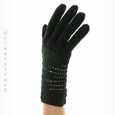 SIMPLY VERA WANG Touch Screen BLACK GLOVES Winter SILVER BEADS & Faux CRYSTALS