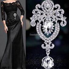 Large Flower Bridal Brooch Rhinestone Crystal Diamante Party Silver Broach GT56