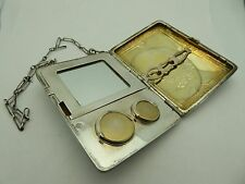 Vintage Sterling Silver Floral Gold Wash Lady's Compact Coin Change Dance Purse