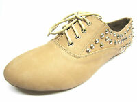 F8870 Spot On Ladies Brouge Style Studded Detail Lace Up Nude Shoes **SALE**
