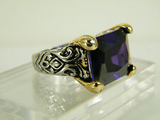 RING:  SIZE  7,  REGAL PURPLE AMETHYST OCTAGON 2-TONE 24K WHITE GOLD FILLED