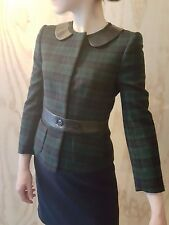 Hobbs NW3 BNWT tartan blazer/jacket with leather trim, UK size 8 retro steampunk