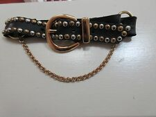 Biker Motorcycle Boot Strap,Chain Buckle Women's New Black Leather Gold / Silver