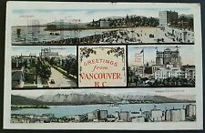 Postcard Greetings from Vancouver BC Vintage 1923 Color