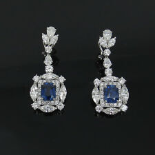 7.90ct Natural Untreated Sapphire & 8.30ct Diamond 18K White Gold Drop Earrings